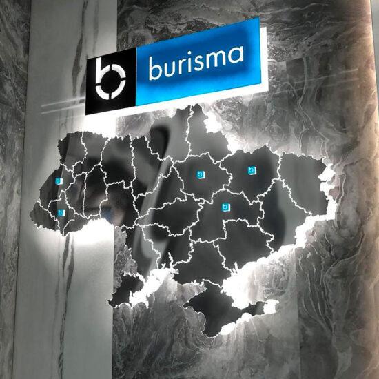 Розробка дизайну вивіски та об'ємної карти для офісу компанії «Burisma»